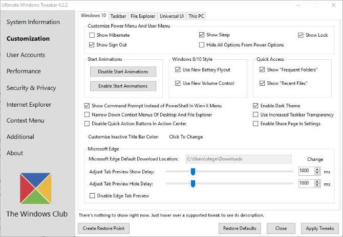 Ultimate Windows Tweaker Windows 10