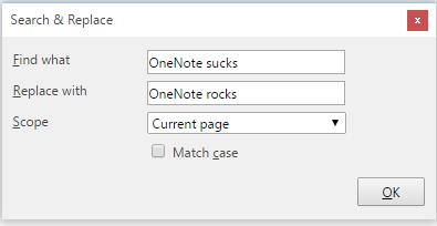 OneNote Macro Find and Replace