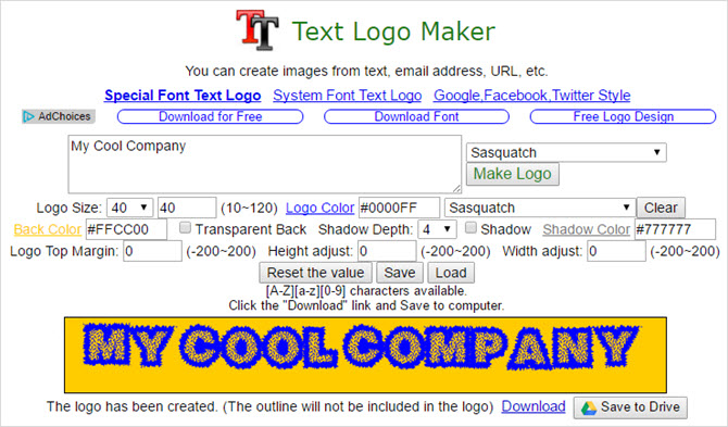 text logo maker chrome app