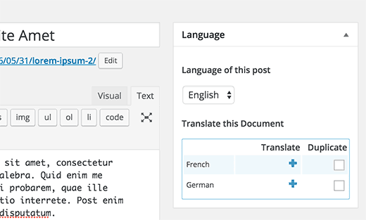 managing translations from post edit screen in WordPress