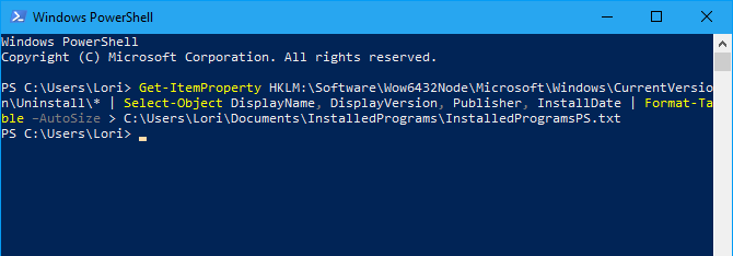 PowerShell command to generate list of installed programs