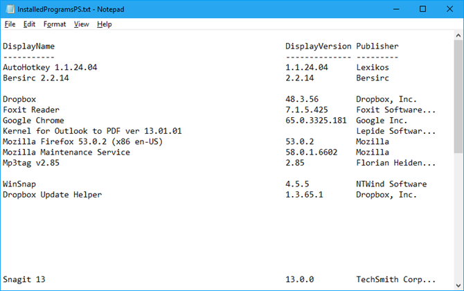 Installed programs list from PowerShell in Notepad