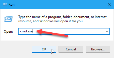 Open the Commant Prompt window using the Run dialog box