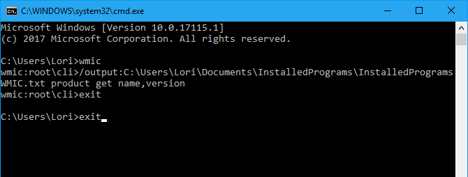 Generate a list of installed programs using the wmic command