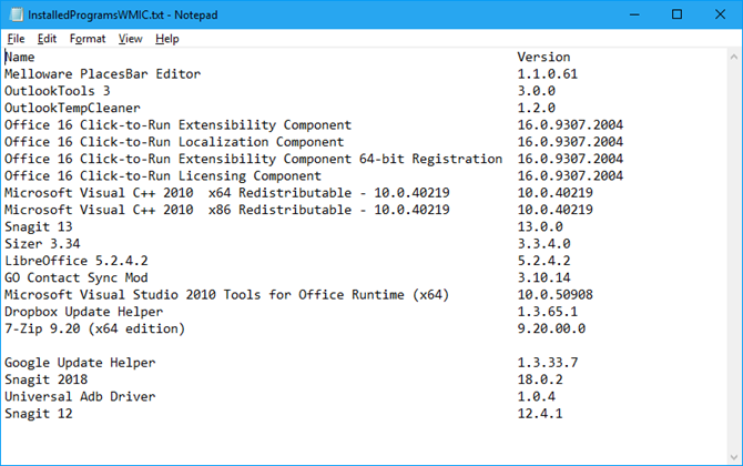 Installed programs list from wmic in Notepad