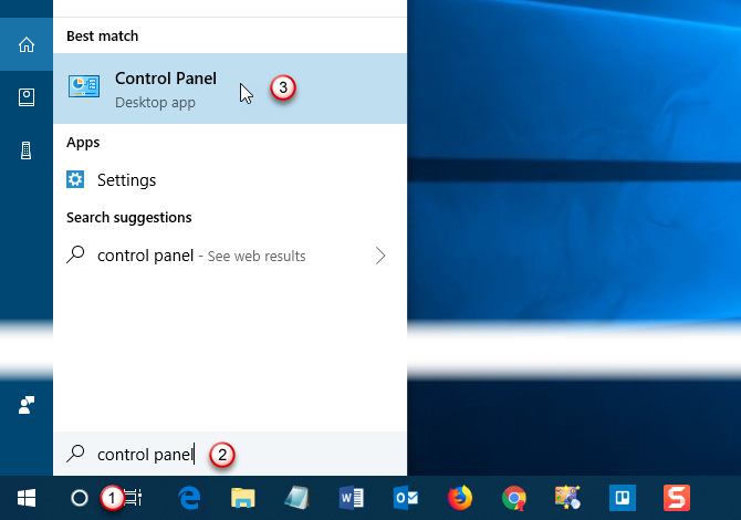 Open Control Panel using the Start Menu search box