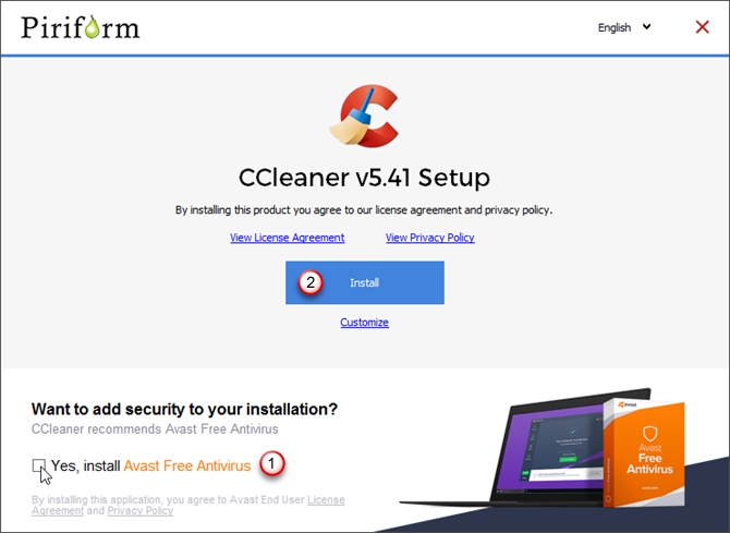 Turn off option to install Avast in CCleaner installer