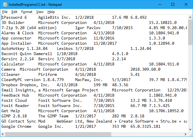 Installed programs list from CCleaner in Notepad