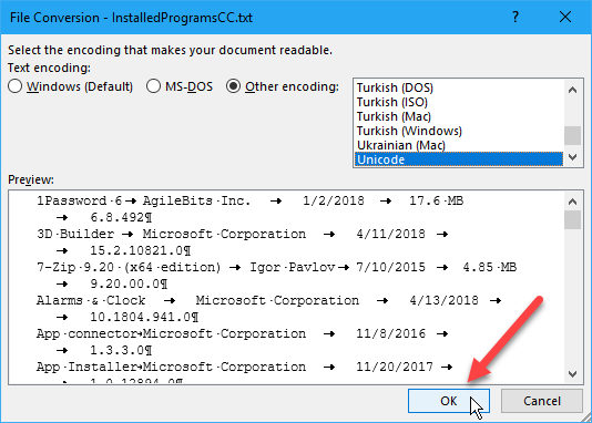 File Conversion dialog box in Word