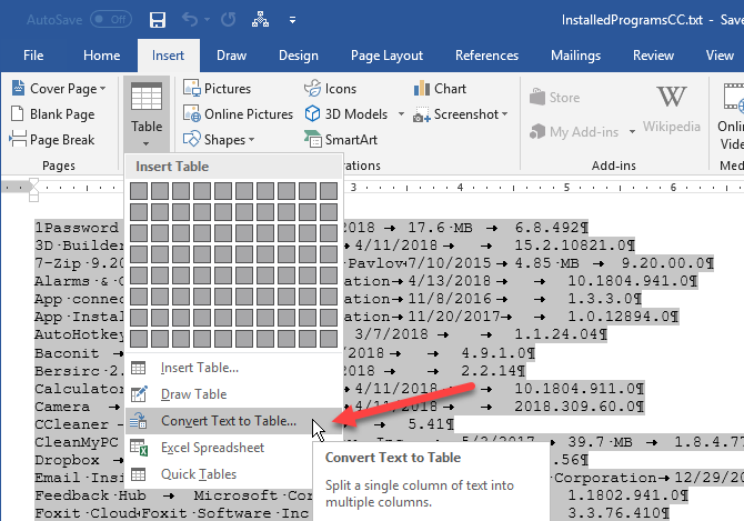 Select Convert Text to Table in Word
