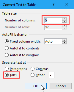 Convert Text to Table dialog box in Word