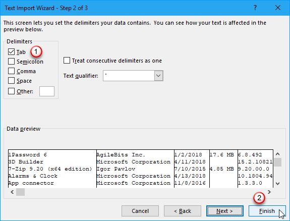Excel Text Import Wizard - Step 2 of 3