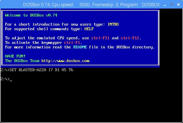 DOSBox on Raspberry Pi